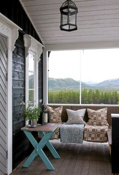 Cosy little outdoor seating area and a view to die for Outdoor Seating Areas, Outdoor Spaces, Outdoor Living, Outdoor Decor, Fresco, Scandinavian Living, Cabins In The Woods, Maine House, Humble Abode