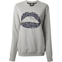 MARKUS LUPFER graphic lips sequin sweatshirt ($150) ❤ liked on Polyvore featuring tops, hoodies, sweatshirts, sweaters, shirts, blusas, grey sweatshirt, sequin top, gray sweatshirt and grey long sleeve shirt