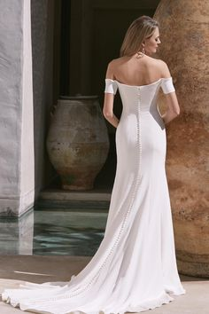 English by Watters. Subtly yours, this cool column of stretch silk crepe speaks softly, but still says a lot. How To Dress For A Wedding, Luxury Wedding Dress, Bridal Wedding Dresses, Wedding Dress Styles, Wedding Suits, Bardot Wedding Dress, English Dress, Off Shoulder Wedding Dress, Bridal Boutique