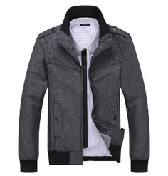 Men's Casual Stand Collar Jacket with Side Pocket...$50