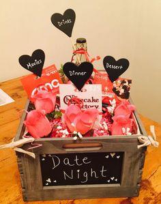 Raffle Gift Basket Ideas, Date Night Gift Baskets, Date Night Gifts, Valentine Gift Baskets, Gift Baskets For Him, Raffle Baskets, Basket Gift, Gift Ideas, Raffle Ideas