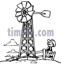 Free drawing of Farm Windmill BW from the category -Farm Animals & Ranch Windmill Water Pump, Farm Windmill, A Cartoon, Cartoon Drawings, Windmill Drawing, School Play, Prop Design, Farm Animals, Ranch