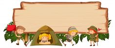Camping kids on wooden banner vector image on VectorStock Sale Banner, Web Banner, Banner Letters, Vintage Grunge, Abstract Shapes, Geometric Shapes, Abstract Backgrounds, Colorful Backgrounds, Banner Vertical