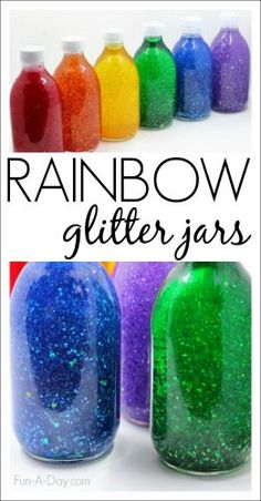Glitter Jars in a Rainbow of Colors - mesmerizing rainbow sensory bottles!