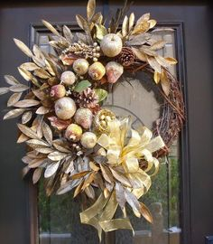 Modern Fall Wreaths, Sugared Fruit Christmas Wreath, Della Robbia Wreath, Thanksgiving Wreath. , via Etsy.