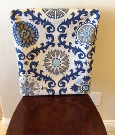 Rustic Indigo And Light Blue On Natural Linen Kitchen Chair Back Cover, Chair  Back Slipcover