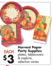 Harvest Paper Party Supplies from Big Lots $3.00