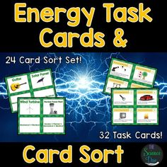 Energy and Energy Transformation Task Cards and Card Sort Set! Challenge your students to learn the fundamentals of Energy and Energy Transformations.