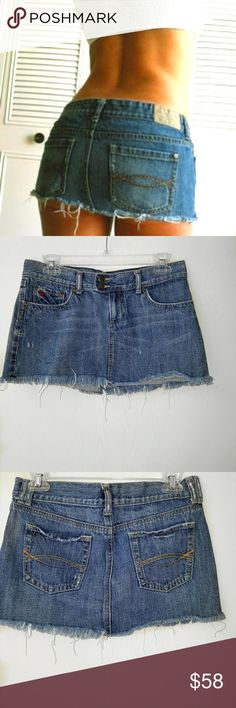 Abercrombie and Fitch distressed Mini Jeans Skirt. Abercrombie and Fitch distressed Mini Jeans Skirt 100% Cotton waist is 30 inches 11.5 inches long. Abercrombie & Fitch Skirts Mini