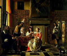 Pieter de Hooch: Conversation By Pieter de Hooch