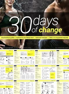 30 Days of Change Challenge - Coregasms #Women #Fitness #Exercise #Plan #Nutrition #BodyWeight #Cardio #StrengthTraining #Intervals #Challenge