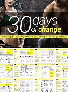 30 Days of Change Challenge - Coregasms #Women #Fitness #Exercise #Plan #Nutrition #BodyWeight #Cardio #StrengthTraining #Intervals #Challenge