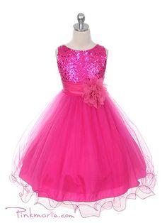 Fushia Elegant Stunning Sequined Bodice Girl Dress