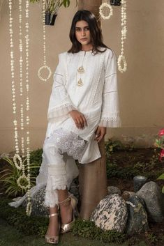 Sana Abbas Beautiful Formal Eid Dresses Designs Collection consists of latest styles of luxury pret festive and event wear shirts, suits, kurta, etc Pakistani White Dress, Pakistani Formal Dresses, Pakistani Fashion Casual, Eid Dresses, Pakistani Dress Design, Special Dresses, Pakistani Outfits, White Anarkali, Fashion Dresses