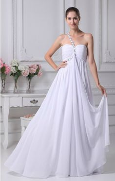 Simple Plain White Pleated Chiffon Bridal Dress with One Beaded Strap