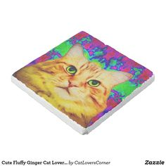 Shop Cute Fluffy Ginger Cat Lover Vivid Colourful Stone Coaster created by CatLoversCorner. Cat Coasters, Stone Coasters, Custom Coasters, Cat Lover Gifts, Cat Gifts, Cat Lovers, Siberian Forest Cat, Cat Drinking, Personalised Blankets