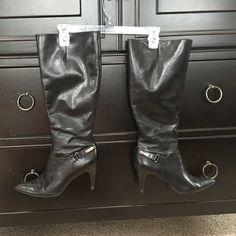Calvin Klein boots size 9 1/2 black Great use condition worn mostly indoors as I change my shoes for the walk from the train to my office Calvin Klein Shoes Heeled Boots