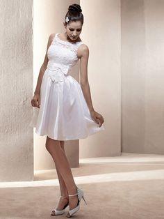 A-lijn korte/mini taffeta trouwjurk met ronde hals | LightInTheBox