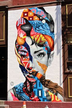 Redefining classic. - Audrey Hepburn street art with colors and patterns that just blow your mind.