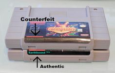 This photo shows the end labels on a real & fake Earthbound SNES Game. Super Nintendo Games, Chrono Trigger, Retro Video Games, Nintendo Consoles