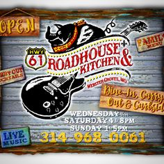 WE ARE OPEN!! Swing by Wednesday thru Saturday 4 to 8pm and Sunday 1 to 5pm. Dine-In, Carry-Out & Curbside Service. #livemusic #greatfood #cocktails #hwy61roadhouseandkitchen Webster Groves, Live Music, Great Recipes, Wednesday, Cocktails, Sunday, Dining, Ideas, Cocktail Parties