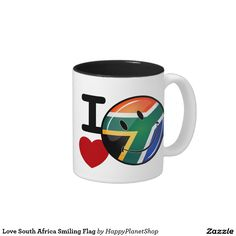 Love South Africa Smiling Flag Two-Tone Coffee Mug