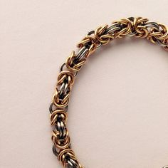 Mixed Metal Bracelet Byzantine Chainmail by HCChainmailJewelry