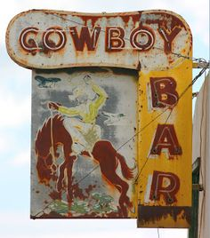 Cowboy Bar neon sign to be found in Dodson, Montana, USA