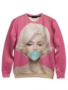3D Unisex Marilyn Monroe Print Sweatshirt In Pink | Persun