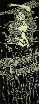 linocut mermaid - Google zoeken