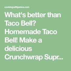 What's better than Taco Bell? Homemade Taco Bell! Make a delicious Crunchwrap Supreme at home with this easy to follow recipe. Taco Bell Recipes, Mexican Food Recipes, New Recipes, Cooking Recipes, Favorite Recipes, Healthy Recipes, Hamburger Recipes, Fodmap Recipes, Kitchens