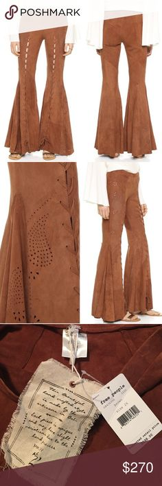 Free People Summer Lovin Suede Flare Pants 100% genuine sheep leather. Godet insets create an exaggerated bell profile on these soft, brushed-suede Free People pants. The vintage-inspired silhouette is detailed with perforated designs and lace-up center seams. Exposed side zip. Unlined. Free People Pants Boot Cut & Flare