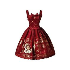 Partiss Womens Classic Velvet Gold Printed Lolita Dress Summer... ($75) ❤ liked on Polyvore featuring dresses, red velvet dress, gold dresses, red dress, yellow gold dress and red summer dress