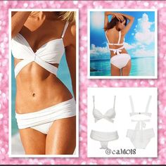 2PC White Bikini Bathing Suit Size Large Brand New, Beautiful and high quality suit, padded cups  The fit is based on a classic bikini shape. The bikini feels smooth on the body with plenty of stretch.  Color: White  Size: Large (Runs small please see size included all sales are final for bathing suits)  Material: 80% Nylon+20% Spandex    Package Included: 1 Bikini Set (2 pieces) Glam Squad 2 You Swim Bikinis