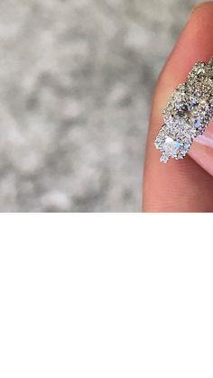 3 Stone trilogy halo diamond engagement ring Eternity Ring Diamond, Diamond Solitaire Rings, Halo Diamond Engagement Ring, Engagement Ring Styles, Designer Engagement Rings, Wedding Ring Bands, Fashion Rings, Ring Designs, Stone