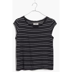 MADEWELL Marquee Tee in Multi Stripe ($35) ❤ liked on Polyvore featuring tops, t-shirts, night vision, stripe t shirt, striped tee, fitted tee, slim fitted t shirts and slim t shirts