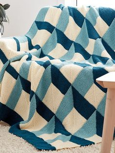 Free Knitting Pattern for Shadowbox Blanket - Three color afghan knit in garter stitch mitered squares. Designed by Patons