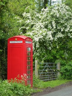 Traditional red British telephone box. I loved seeing these out of the middle of the countryside when I visited.