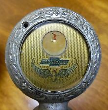 c.1915 CHEVROLET ANTIQUE RADIATOR CAP HOOD ORNAMENT - BOYCE MOTO METER - SCARCE