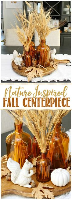 Love this pretty fall centerpiece using glass amber bottles. Perfect for any fall decor or fall tablescape. / #fallcenterpiece #centerpieceideas #falldecor #amberbottles #falldecorating