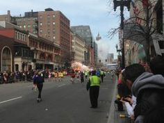 This Picture Appears To Show Two Nearly Simultaneous Explosions In Boston