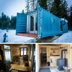 Today we are taken to a really cool shipping container cabin in Idaho's Jug Mountain. If the pictures aren't enough, the cabin. Sea Containers, Sea Container Homes, Container House Design, Shipping Container House Plans, Shipping Containers, Small Log Cabin, Off Grid Cabin, Roller Doors, Container Buildings