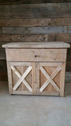 This is the perfect vanity cabinet for your rustic style bathroom! The front doors open for storage but the false drawer hides all of the sinks plumbing nicely. If you would like us to add the countertop to the vanity, please let us know if it needs to be flush on one or both sides. Otherwise, we will make it so it has a 1 overhang on the front and sides. Additions for this piece include: Hardware Stain Sealant for countertop Additions can be purchased here: https://www.etsy.com&...