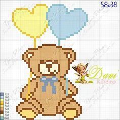 Cross Stitch For Kids, Cross Stitch Baby, Cross Stitch Patterns, Knitting Patterns, Name Letters, Plastic Canvas, Free Crochet, Teddy Bear, Animals