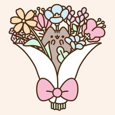 "Pusheen (@pusheen) on Instagram: "" What's your favorite flower? "" https://instagram.com/p/BT4jbaIBLO8/"