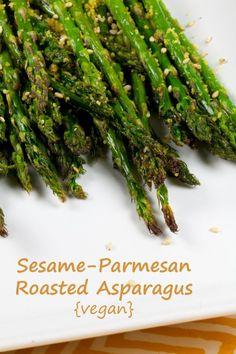 Vegan Sesame Parmesan Roasted Asparagus, we want to stalk you. Get it?