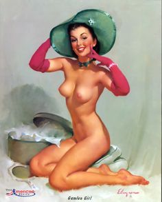 """Gil Elvgren - """"Gamlin Girl"""" - Late 1940′s - A beautiful painting by Elvgren. Purchased this wonderful illustration from Grapefruit Moon last week to my collection of calendars."""