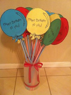 GREAT birthday treat idea!  The container can be found at Dollar Tree.  It is a 4 qt. canister!