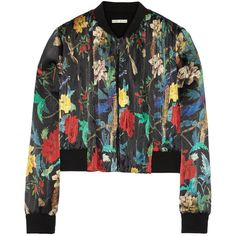 Alice + Olivia Floral-print silk-satin bomber jacket (4 640 ZAR) ❤ liked on Polyvore featuring outerwear, jackets, black, colorful jackets, black zipper jacket, floral print bomber jacket, black flight jacket and bomber jacket