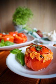 Rajčata plněná quinoou Ratatouille, Tofu, Quinoa, Vegetables, Fruit, Vegetable Recipes, Veggies